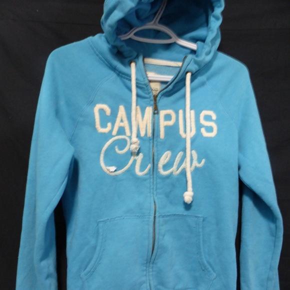 CAMPUS CREW zip up sweatshirt hoodie light blue m